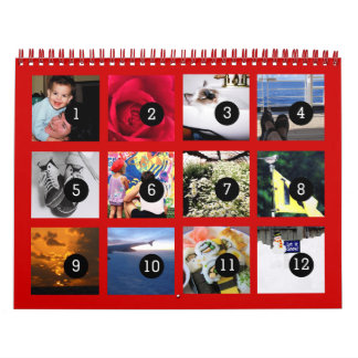 Easily 1 to 12 Your Own Red 2018 Calendar