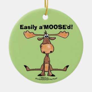 Easily AMOOSED!- Easily Amused funny Moose Ceramic Ornament