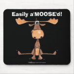 Easily AMOOSED!- Easily Amused funny Moose Mouse Pad