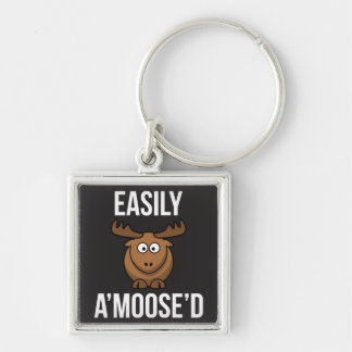 Easily Amoosed Moose Animial Pun Keychain