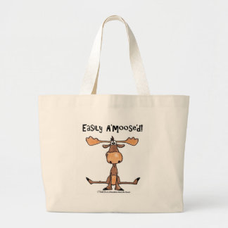 Easily Amoosed!-Sitting Moose Large Tote Bag