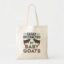 Easily Distracted by Baby Goats Tote Bag