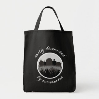 Easily Distracted By Cemeteries Grocery Tote Bag