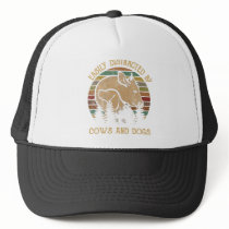 Easily Distracted By Cows And Dogs Vintage Trucker Hat