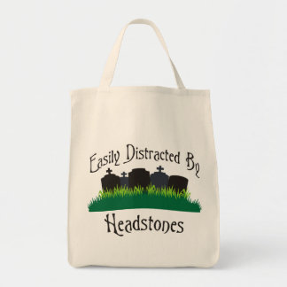 Easily Distracted By Headstones Grocery Tote Bag