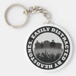 Easily Distracted By Headstones Basic Round Button Keychain