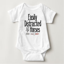 easily distracted by horses baby bodysuit