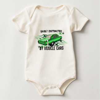 EASILY DISTRACTED By Muscle Cars Baby Bodysuit