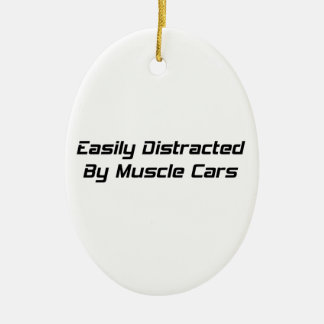 Easily Distracted By Muscle Cars By Gear4gearheads Double-Sided Oval Ceramic Christmas Ornament