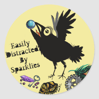 Easily Distracted by Sparklies Raven Classic Round Sticker