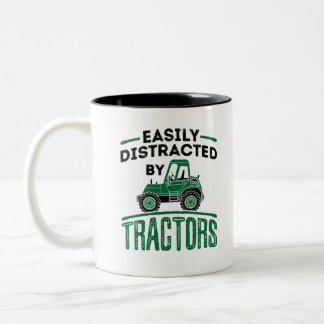 Easily Distracted by Tractors Two-Tone Coffee Mug