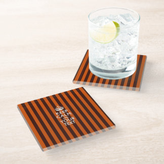Easily KEEP CALM Have Your Text on Orange Stripes Glass Coaster
