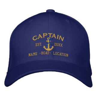 Easily Personalize a Stylish Captain Rope Anchor Embroidered Baseball Hat