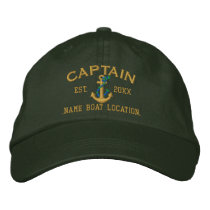 Easily Personalize This Captain Rope Anchor Style Embroidered Baseball Cap