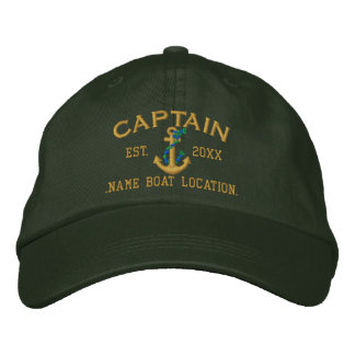 Easily Personalize This Captain Rope Anchor Style Embroidered Hat