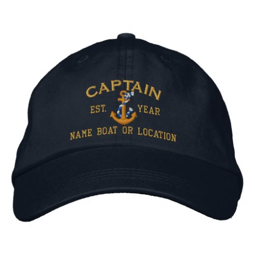Easily Personalize This Captain Rope Anchor Text Embroidered Baseball Hat
