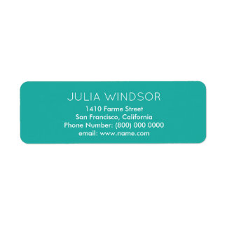 easily read & plain, simple turquoise label