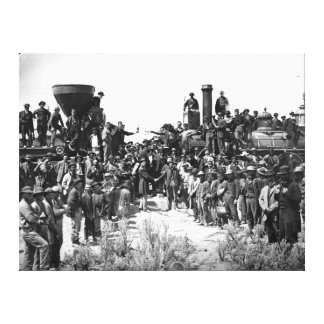 East and West Shaking Hands at Laying Last Rail Canvas Print