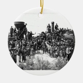 East and West Shaking Hands at Laying Last Rail Ceramic Ornament