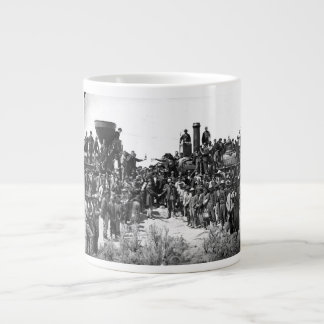 East and West Shaking Hands at Laying Last Rail Large Coffee Mug