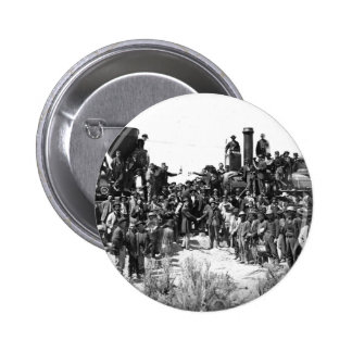 East and West Shaking Hands at Laying Last Rail Pinback Button