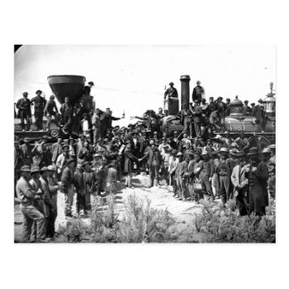 East and West Shaking Hands at Laying Last Rail Postcard