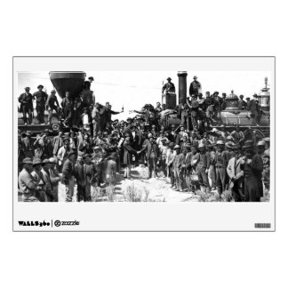 East and West Shaking Hands at Laying Last Rail Wall Decal