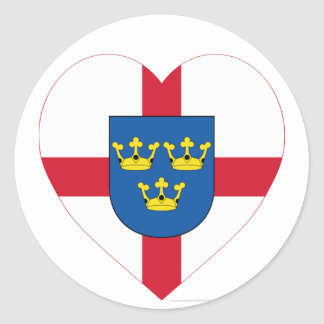 East Anglia Flag Heart Classic Round Sticker