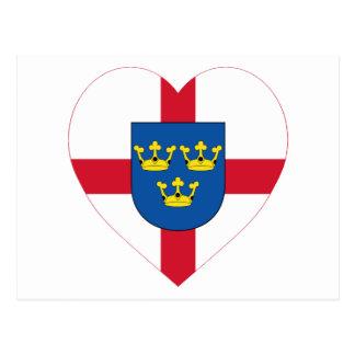 East Anglia Flag Heart Postcard