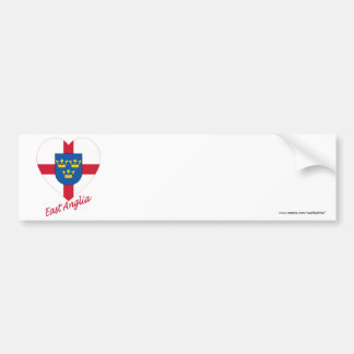 East Anglia Flag Heart with Name Bumper Sticker