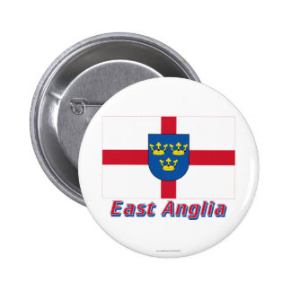 East Anglia Flag with Name 2 Inch Round Button
