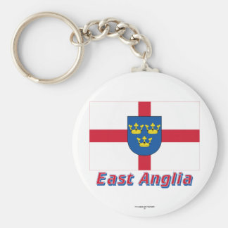 East Anglia Flag with Name Basic Round Button Keychain