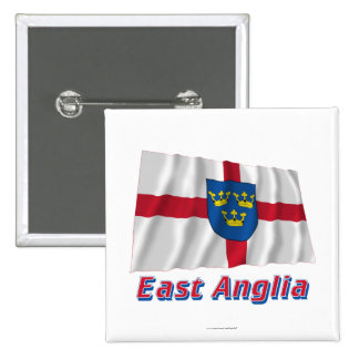 East Anglia Waving Flag with Name 2 Inch Square Button