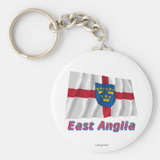 East Anglia Waving Flag with Name Basic Round Button Keychain