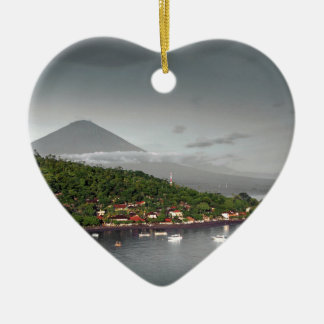 East Bali coastline and Mount Agung Ceramic Ornament