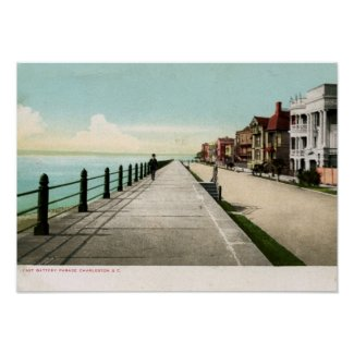 East Battery Parade, Charleston SC 1900 Vintage print