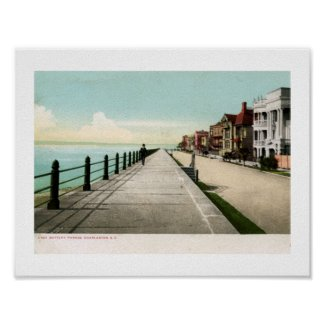 East Battery Parade, Charleston SC 1900 Vintage Poster