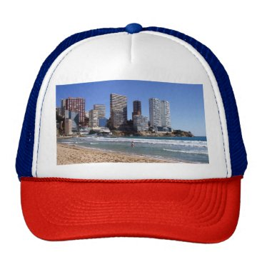 Beach Themed East beach of Benidorm, Spain Trucker Hat