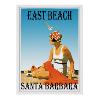East Beach Santa Barbara, California Retro Beach 1 Poster
