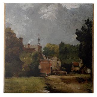 East Bergholt Church from Church Street (oil on pa Ceramic Tile