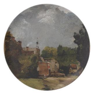 East Bergholt Church from Church Street (oil on pa Melamine Plate