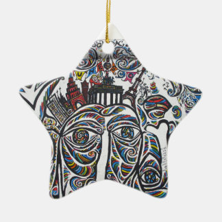 East Berlin Wall Graffiti Double-Sided Star Ceramic Christmas Ornament