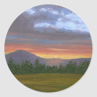 East Burke Vermont Sunset Classic Round Sticker