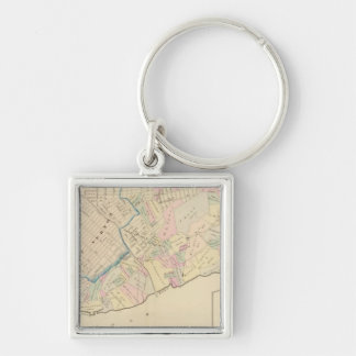 East Chester, New York 2 Silver-Colored Square Keychain