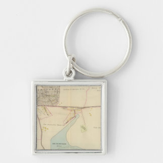 East Chester, New York Silver-Colored Square Keychain