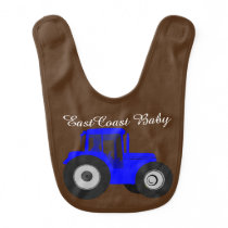 East Coast baby bib cute brown farm tractor