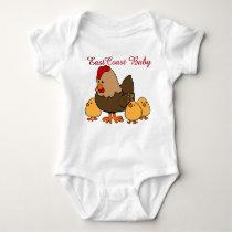 East Coast Baby  cute chicken hen chick  farm Baby Bodysuit