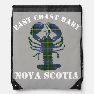 East Coast Baby Nova Scotia Lobster Tartan grey Drawstring Backpack