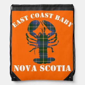East Coast Baby Nova Scotia Lobster Tartan orange Drawstring Backpack