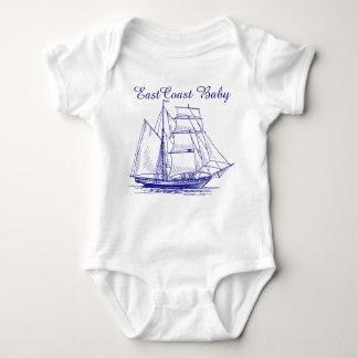 East Coast Baby sailboat ship schooner  nautical Baby Bodysuit